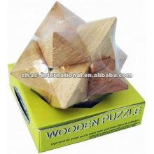 Star angle sharp wooden puzzle, estilo de luxo