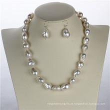 Snh 12 milímetros AA + Edison White Freshwater Bridal Pearl Jewelry Set