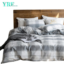 Cottage Cotton Bedding Set Cheap Price Nordic Style Smooth Dark Gray Plaid