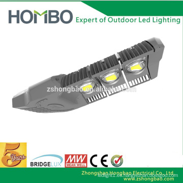 5 años de garantía 150 vatios de aluminio ajustable cobre bridgelux sensor llevó la luz de la calle