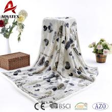 2018 New design printed flannel fleece sherpa back blanket plush throw