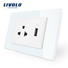 Livolo Panneau en verre trempé blanc / noir Prise de courant US avec chargeur USB VL-C9C1US1U-11/12