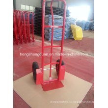 Ручная тележка имеет два пневматических колеса, используемые для хранения
