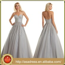 XPD13 Latest Design Gray Off Shoulder Evening Formal Gown with Color Beading Ball Gown Prom Dresses