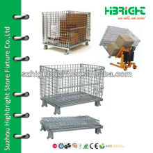collapsible and stackable wire mesh container