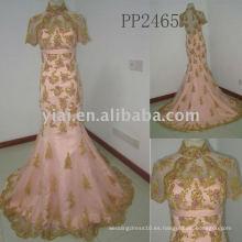PP2465 nuevo halter del envío del lfree del arriva falda rebordeó el vestido de noche 2011 del cordón