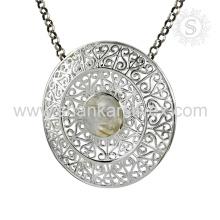 Joyería hecha a mano de la joyería de la joyería de la plata esterlina 925 de la nueva llegada de la piedra preciosa aguda agraciada del Rutilo