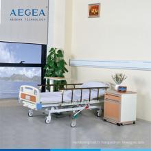 Lit d'hôpital de pompe hydraulique mobile clinique de main courante d'al-alliage d'AG-BMY001 pour des patients