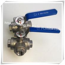 Нержавеющая сталь 3-ходовой шаровой кран, L-порт, T-порт Трехходовой шаровой клапан
