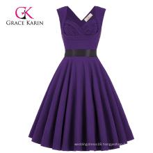 Wholesale Grace Karin Sleeveless Sweetheart V-Back High Stretchy Purple Vintage RetroParty Dress CL008948-6