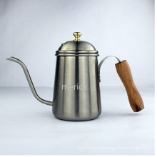 Wood Handle Stainless Steel Long Lip Coffee Pot