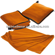 Wholesale Orange Color Fleece Blanket Pillow With Zipper