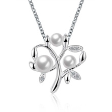 Pear Pendant Necklace Silver Plated Imitation Zicron Pearl Women Necklace