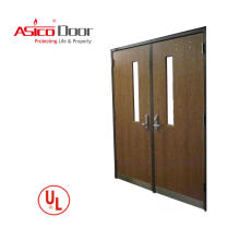 ASICO Double Leaf UL Listed Fire Rated Main Gate Entrance Wooden Door For Lobby