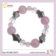 Funny Charm Fish Shape Rose Quartz Moonstone Bracelet, Charm Bracelet as Gift for Mother