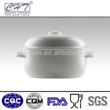 "5.5""White bone china soup tureen with lid"