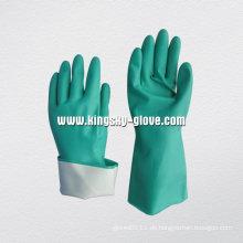 Nicht unterstützte Langarm-Flock ausgekleidet Nitril Chemical Work Glove-5620