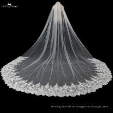 TA038 5 Meter Boden Länge 3D Blumen Brautschleier