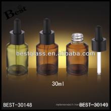 Bouteille d'huile essentielle de verre ambré de 30ml avec le caoutchouc, bouteille d'huile de compte-gouttes de verre avec le caoutchouc noir; flacon compte-gouttes avec bouchon en aluminium