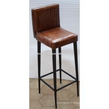 Chaise de bar en cuir industrielle