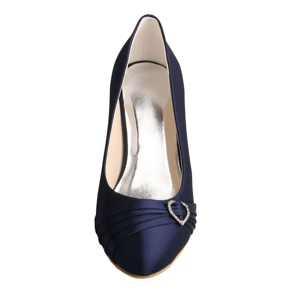 Closed Toe Navy Satin Shoes