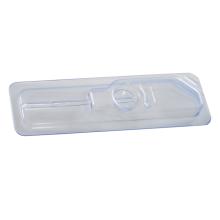 Caixa bliser de plástico termoformado com seringa de injeção branco fosco