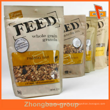 Plástico / Papel Stand Up Ziplock Laminted Seal Embalagem Pouch Com Clear Window Para Granola