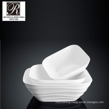 hotel ocean line fashion elegance white porcelain square soup plate PT-T0610