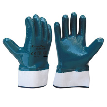 Blue Steel Nitrile Smooth Finish Safety Cuff Gloves For Heavy Duty Work