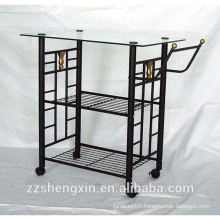Metal Dining Serving Cart with Wheels for Restaurant