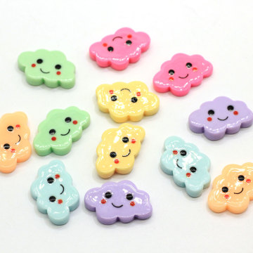 100Pcs Colorful Kawaii Flat Back Resin Cloud With Smile Face DIY Resin Cabochons For Craft Making Accessories