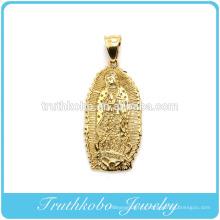 2016 Haute qualité mode chrétien sous vide placage or en acier inoxydable pendentif religieux Sainte mère Maria collier pendentif