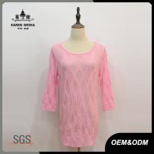 Robe pull femme à demi-manches rose