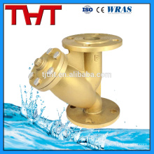 brass flange connection y type strainer on stock