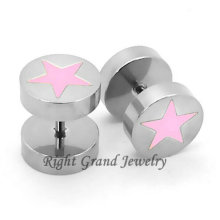 316L Surgical Stainless Steel Pink Star Fake Plug Tunnels