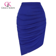 Grace Karin Occident Women's Solid blue Color High Stretchy Pleated Pencil Skirt CL008930-1