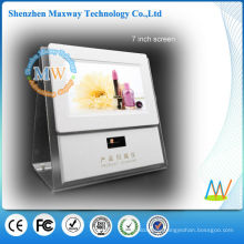 acrylic counter display with 7 inch lcd screen and barcode scanner for promotion