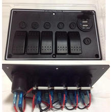 5 Gang LED Aluminium Auto Boot Marine Dual USB Ports & Wippschalter Panel