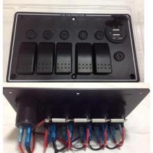 5 банды алюминий СИД автомобиля яхты морской двойной USB порты & перекидной переключатель панель