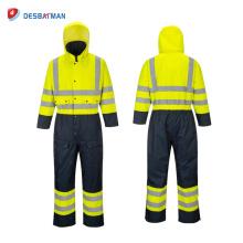 Combinaison de sécurité imperméable haute visibilité doublée Classe 3 Combinaison réfléchissante imperméable avec 5 poches