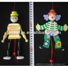 pequeña muñeca de madera con cuerda para juguetes de bebé