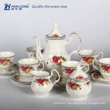Rose Pattern Plain Design Royal Style Porzellan Kaffee Set Tee Set, Geschenkbox Verpackung Kaffeetasse Set