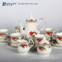 Rose Pattern Plain Design Royal Set de café de porcelana estilo conjunto de chá, Gift Box Set de café de embalagem