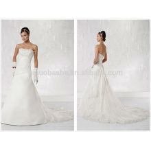 Лучшие по рейтингу 2014 Тафта кружева-line свадебное платье без бретелек крест крест Плиссированные лиф из бисера, смоченной сзади длинное свадебное платье NB0888