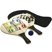 Beach Racket wooden 3 in 1 ludo board game