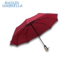 Regalo promocional de 23 pulgadas, pequeña cantidad, todo tipo de equipo de lluvia, barato, rojo, automático, plegable, paraguas, publicidad, con, impresión de la insignia