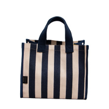 Low MOQ Reusable Strong Standard Size Striped Canvas Bags 2021 Tote Shopping Bag