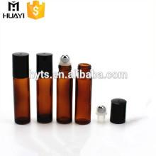 Déodorant de parfum en verre ambré 10 ml roll on bottle with capuchon en plastique noir
