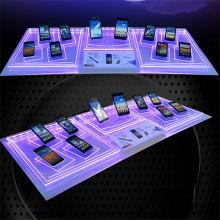 Display de acrílico personalizado de alta qualidade para celular com luz LED