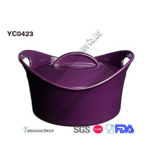 Cacerola de panadería púrpura promocional con tapa
